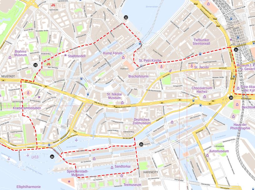 Stadtkarte Hamburg  aus OSM-Daten